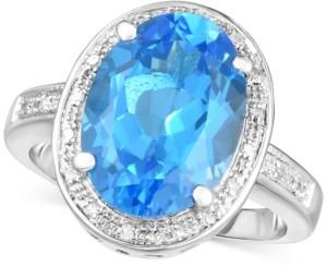 Macy's Blue Topaz (6-1/2 ct. t.w.) & Diamond (1/10 ct. t.w.) Statement Ring in Sterling Silver