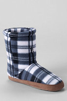 Classic Toddler Kids' Fleece Bootie Slippers-Deep Indigo Multi Plaid