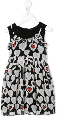 Emporio Armani Kids Heart Print Flared Dress