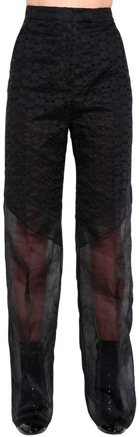 Antonio Berardi Patchwork Eyelet Lace & Organza Pants