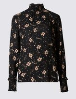 Marks and Spencer Floral Print Turtle Neck Long Sleeve Blouse