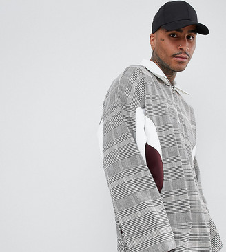 ADD oversized overhead jacket in check with half zip