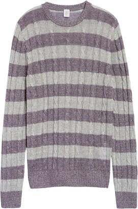 Eleventy Slim Fit Cable Knit Linen & Cotton Crewneck Sweater
