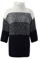 Lands' End Women's 3/4 Sleeve Turtleneck Tunic Sweater-Black Marl Ombre