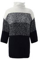 Lands' End Women's Petite 3/4 Sleeve Turtleneck Tunic Sweater-Black Marl Ombre