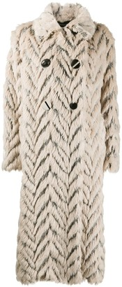 Stella McCartney Faux Fur Chevron Coat