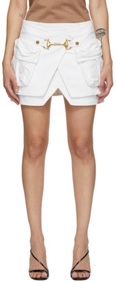 Balmain White Denim Layered Miniskirt