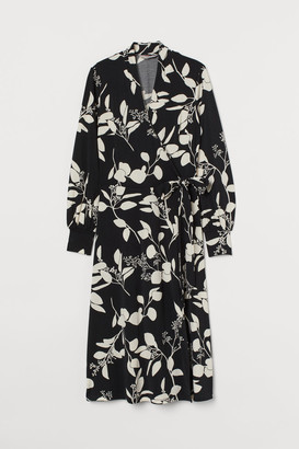 H&M Calf-length Wrap Dress - Black