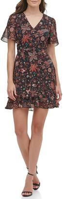Kensie Floral V-Neck Short Sleeve Dress