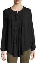 Max Studio Pintucked Georgette Blouse, Black