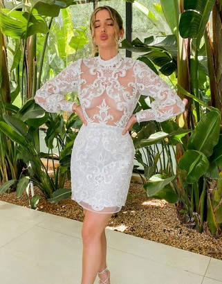 ASOS DESIGN Luxe high neck embroidered sequin long sleeve mini dress in white