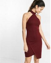 Express high neck asymmetrical cutaway dress