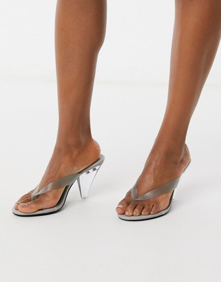 ASOS DESIGN Niko flip flop heeled sandals in gray