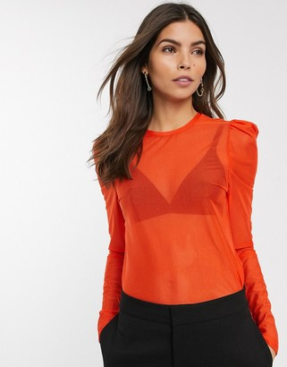 And other stories & mesh puff sleeve top in bright red