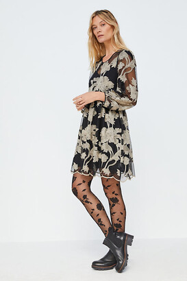 Maeve Trixie Embroidered Mini Dress By in Black Size XS