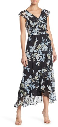 London Times Ruffle Trim Floral Print Midi Dress (Petite)