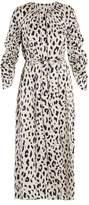 Tibi Cheetah-print tie-waist silk dress