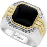 Effy Men's Onyx (10 x 10mm) and Diamond (1/5 ct. t.w.) in Sterling Silver and 14k Gold