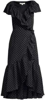 Rebecca Taylor Birdseye Dot Ruffled Wrap Dress