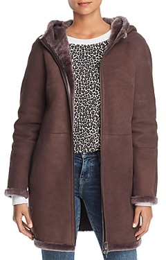 Maximilian Furs Hooded Suede & Lamb Shearling Coat - 100% Exclusive