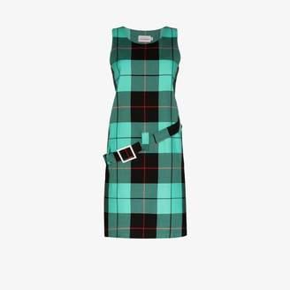 Charles Jeffrey Loverboy Womens Green Gogo Belted Cotton Tartan Dress
