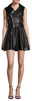 RED Valentino Leather Zipper A Line Dress