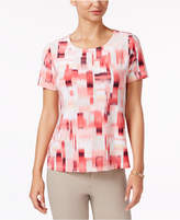 JM Collection Petite Printed Jacquard Top, Only at Macy's