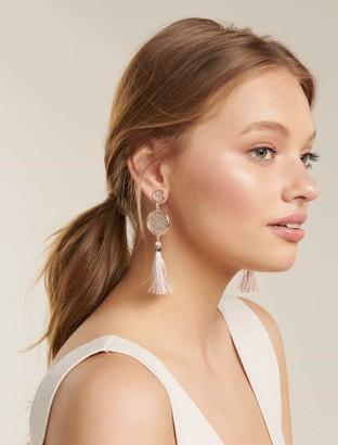 Forever New Vicky Glitter Paper Tassel Drop Earrings - Rose Gold - 00