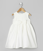 Jayne Copeland Ivory Bow Pleated Dress - Toddler
