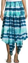 Neiman Marcus Tie-Dye Asymmetric-Hem Midi Skirt, Ultra Blue