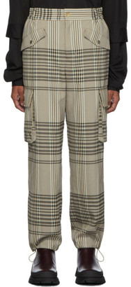 Feng Chen Wang Beige Check Straight Cargo Pants
