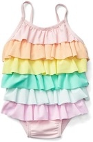 Gap Pastel rainbow ruffle swim one-piece