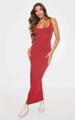 PrettyLittleThing Scarlet Twin Strap Jersey Maxi Dress