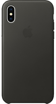 Apple Leather Case for iPhone X, Charcoal Grey