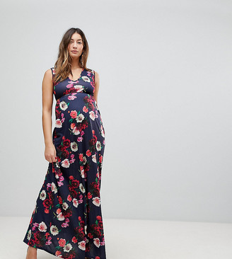 Bluebelle Maternity Maxi Dress With Plunge Neck And Cut Out Detail