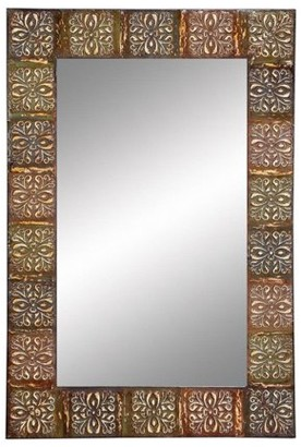 """Aspire Home Accents Classic Floral Metal Wall Mirror by Decmode 36""""x24"""""""