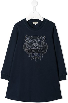 Kenzo Kids Embroidered Tiger Sweater Dress