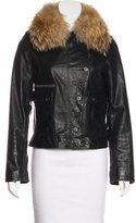 Nicholas K Fox Fur-Trimmed Leather Jacket