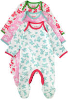 Cath Kidston Mono Strawberries Baby 3 Pack Sleepsuit