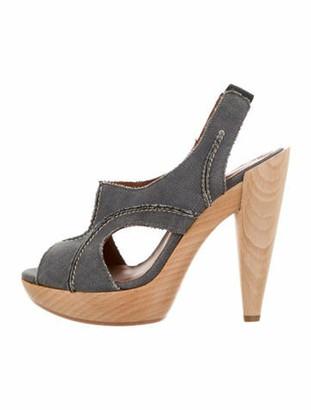 Lanvin Denim Platform Sandals Blue