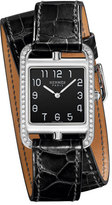 Hermes Cape Cod GM Watch with Alligator-Embossed Leather Strap, Black