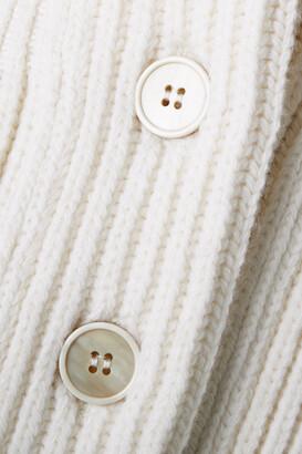 Alexander McQueen Ribbed Wool Peplum Cardigan - Cream