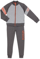 Armani Junior Two-Piece Raglan Track Suit, Gray, Size 4-12