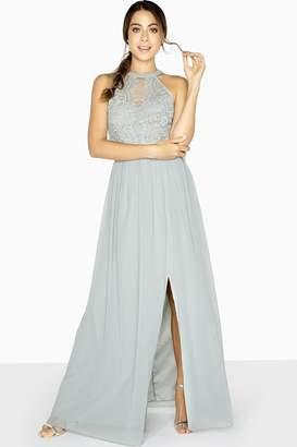 Little Mistress Lace Halter Neck Maxi Dress