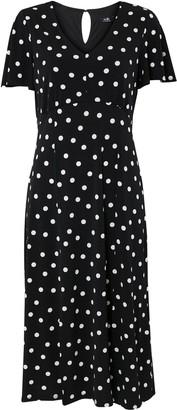 Wallis Black Polka Dot Jersey Midi Dress