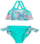 Floatimini Girls 4-6x) Two-Piece Mixed Print Popover Bikini Top & Bottom Set