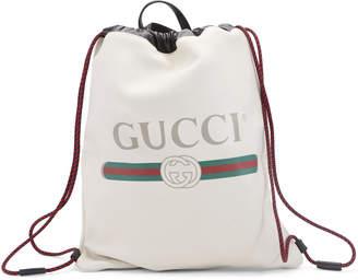 Gucci Drawstring Backpack Vintage Logo White
