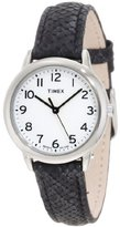 Timex Women's T2N964 Elevated Classics Black Python Patterned Strap Watch