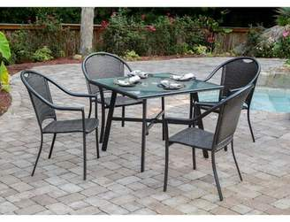 Charlton Home Bearden 5-Piece Commercial-Grade Patio Set with 4 Woven Dining Chairs and a 38-In. Glass-Top Dining Table Charlton Home