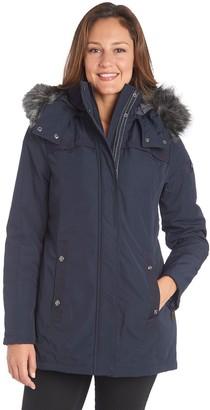 Fleet Street Women's Faux-Fur Trim Midweight Puffer Jacket